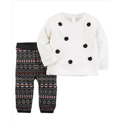 2-Piece French Terry Top & Knit Legging Set
