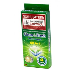 Таблетки для ПММ CLEAN&FRESH All in 1, 4 шт.